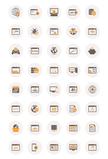 40 development icons