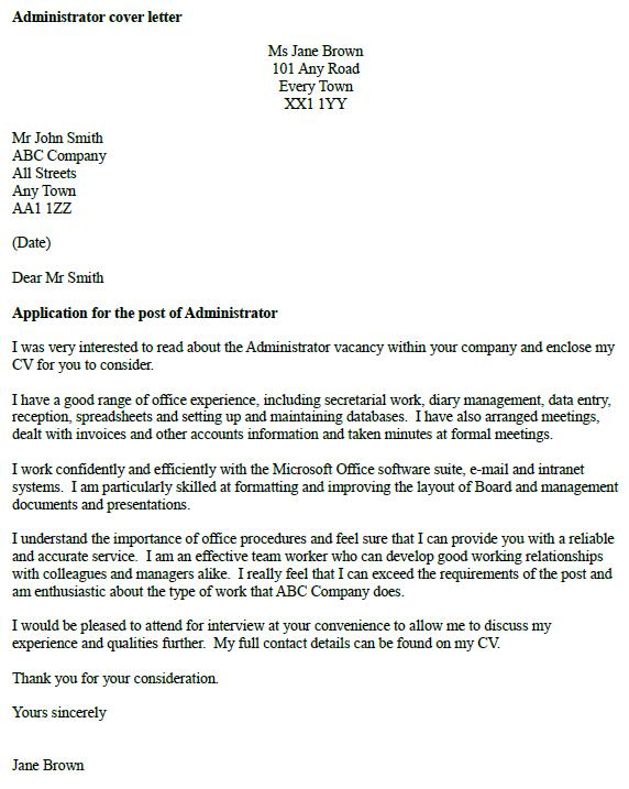 example of cover letter uk