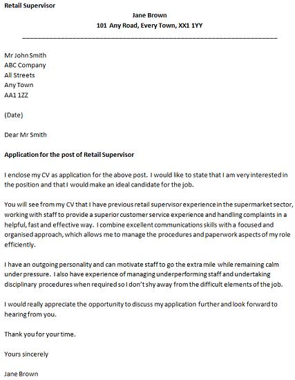 retail covering letter example