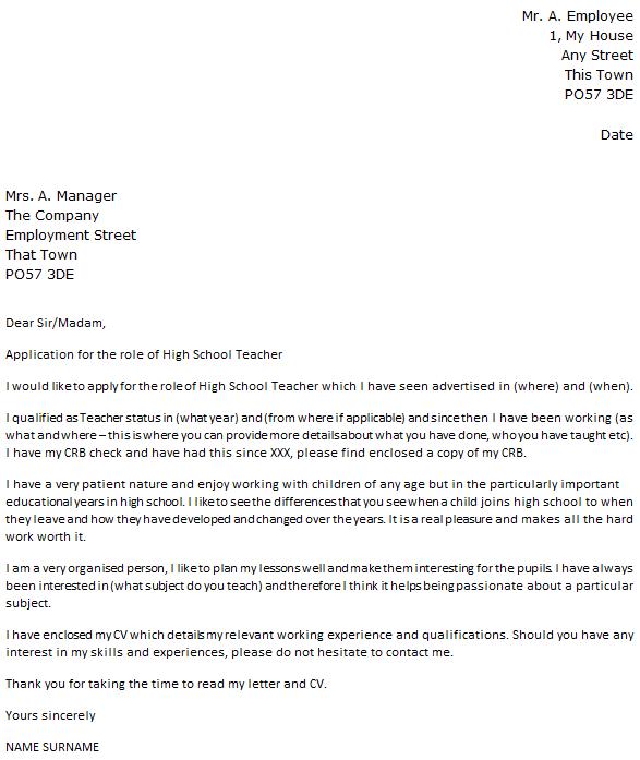High School Teacher Cover Letter Example