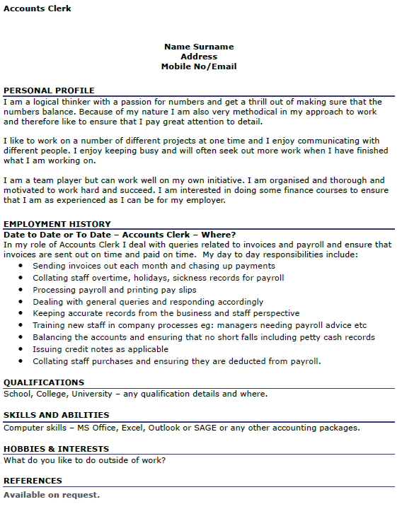 sample cover letter accounting clerk