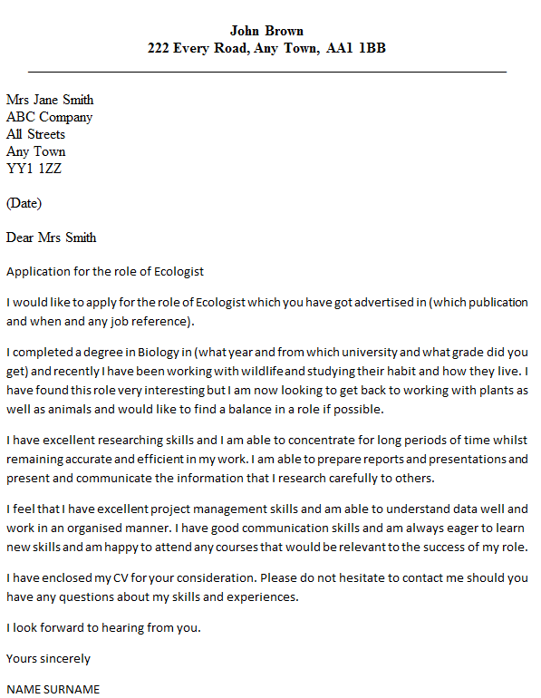 ecologist cover letter example