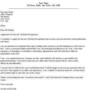 dental receptionist cover letter example