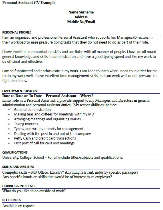 personal statement cv examples uk retail