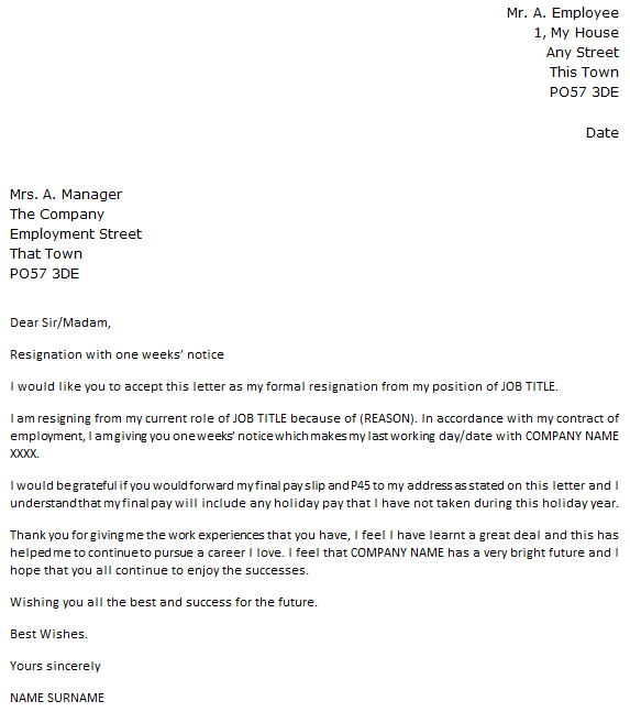 1 Week Notice Resignation Letter Icover Org Uk