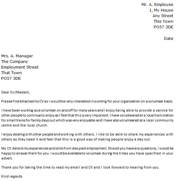 sample email message volunteer position