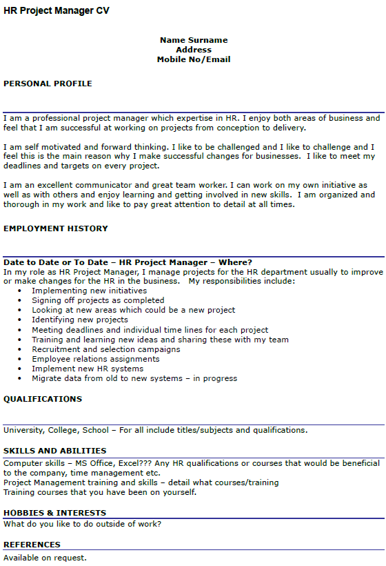 Hr Project Manager Cv Example Icover Org Uk