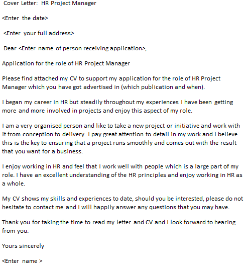 hr project manager cover letter example