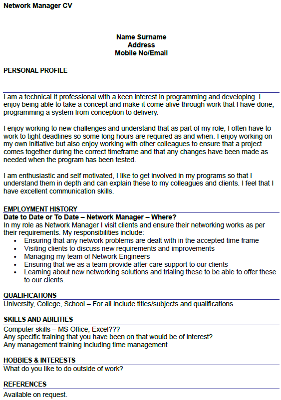 network manager cv example