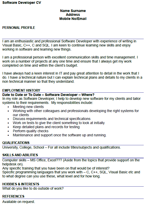 sample cover letter software engineer