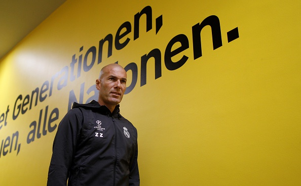 DORTMUND, GERMANY - SEPTEMBER 26: Head coach of Real Madrid Zinedine Zidane is seen before a press conference ahead of the UEFA Champions League group F soccer match between Borussia Dortmund and Real Madrid CF in Dortmund, Germany on September 26, 2016.       (Photo by Leon Kuegeler/Anadolu Agency/Getty Images)