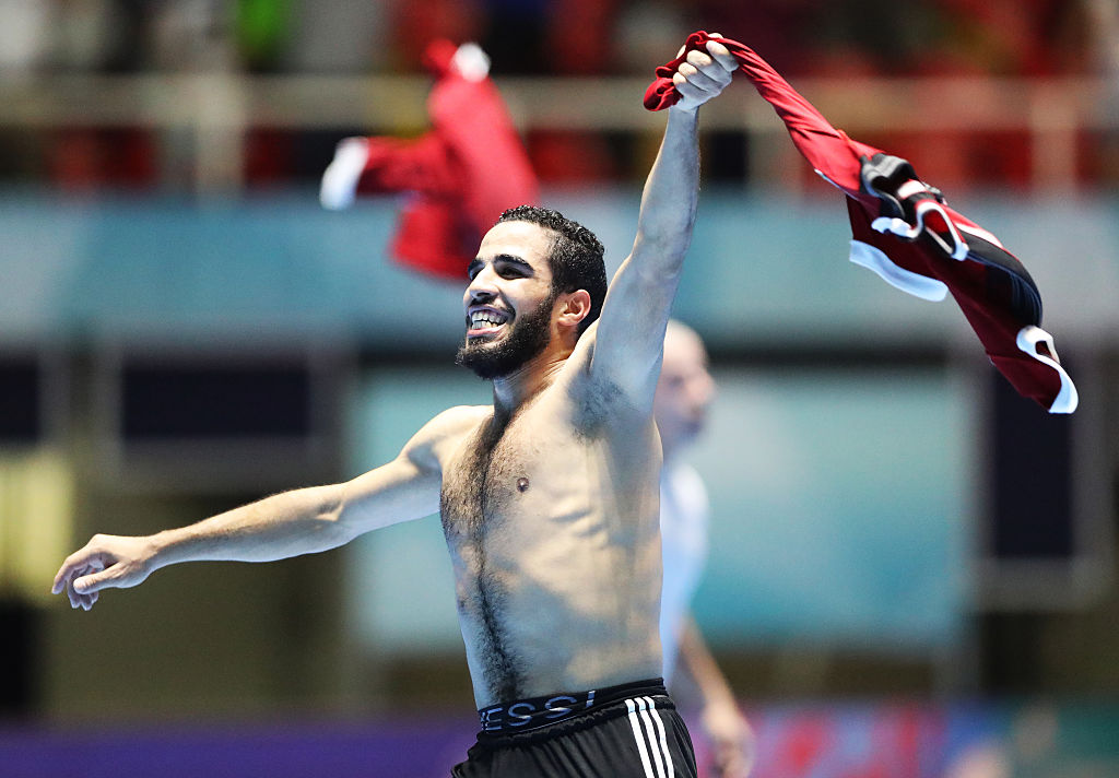 CALI, COLOMBIA - SEPTEMBER 22:  Abdelranham Elashwal of Egypt celebrates victory during the FIFA Futsal World Cup Round of 16 match between Italy and Egypt at the Coliseo el Pueblo Stadium  on September 22, 2016 in Cali, Colombia. (Photo by Ian MacNicol - FIFA/FIFA via Getty Images)