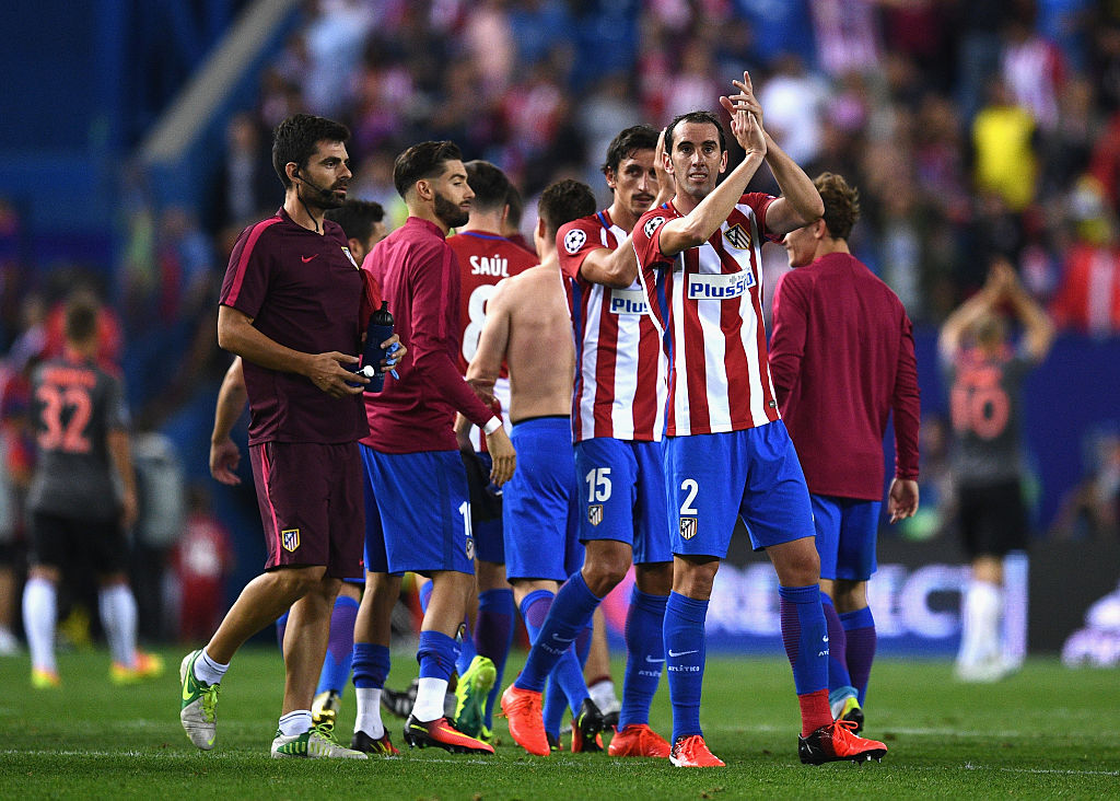 during the UEFA Champions League group D match between Club Atletico de Madrid and FC Bayern Muenchen at the Vicente Calderon Stadium on September 28, 2016 in Madrid, Spain.
