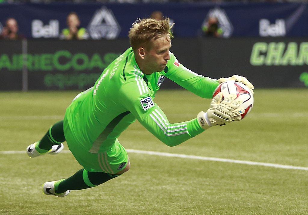 VANCOUVER, BC - APRIL 19: David Ousted #1 of the Vancouver Whitecaps FC makes a save during their MLS game against the Los Angeles Galaxy April 19, 2014 in Vancouver, British Columbia, Canada. (Photo by Jeff Vinnick/Getty Images)