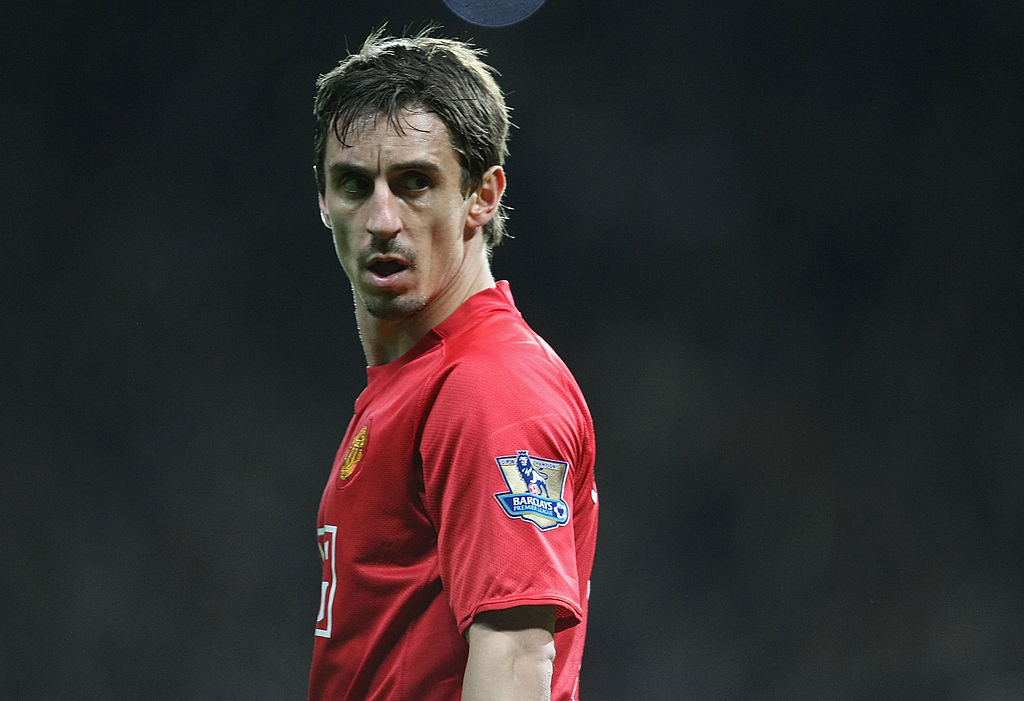 MANCHESTER, ENGLAND - OCTOBER 18: Gary Neville of Manchester Unitedin action during the Barclays Premier League match between Manchester United and West Bromwich Albion at Old Trafford on October 18 2008, in Manchester, England. (Photo by Tom Purslow/Manchester United via Getty Images)