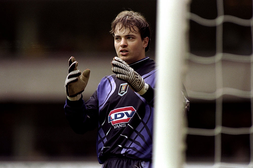 13 Mar 1999:  Mark Bosnich of Aston Villa awaits a corner during the FA Carling Premiership match against Tottenham Hotspur played at White Hart Lane in London, England. Tottenham Hotspur won the game   Mandatory Credit: Laurence Griffiths /Allsport