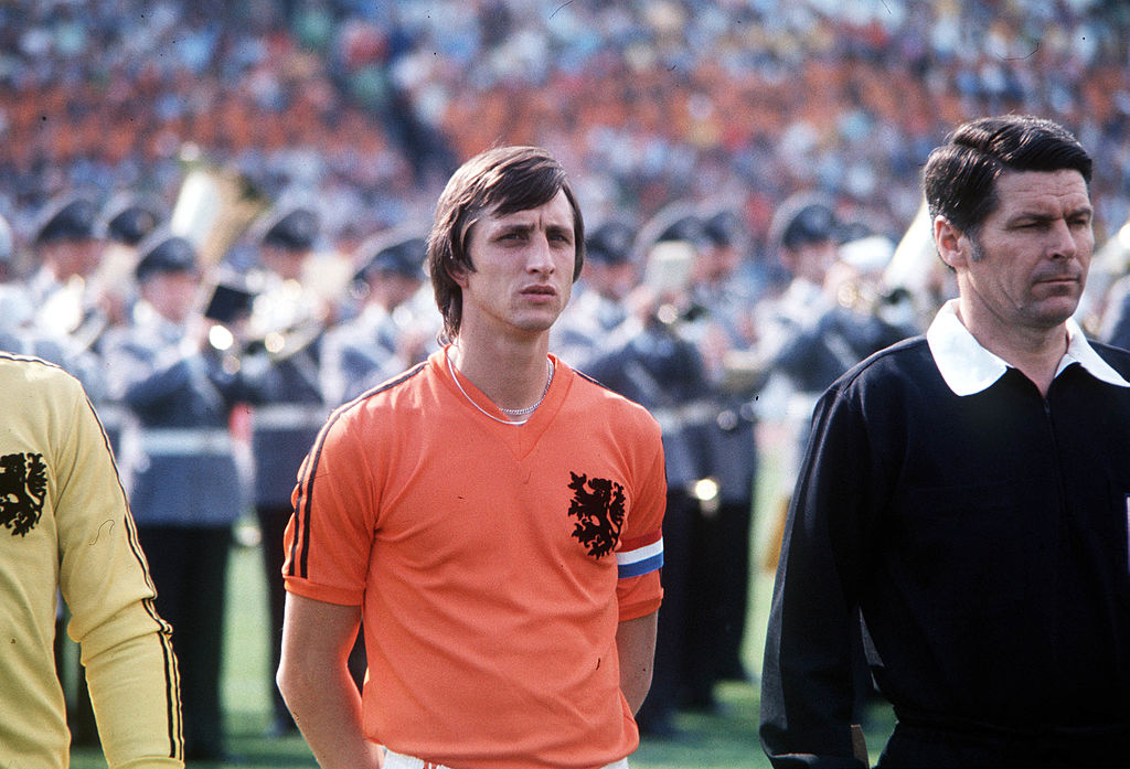 1974 World Cup Final, Munich, West Germany, 7th July, 1974, West Germany 2 v Holland 1, Holland's Johan Cruyff lines up before the match  (Photo by Popperfoto/Getty Images)