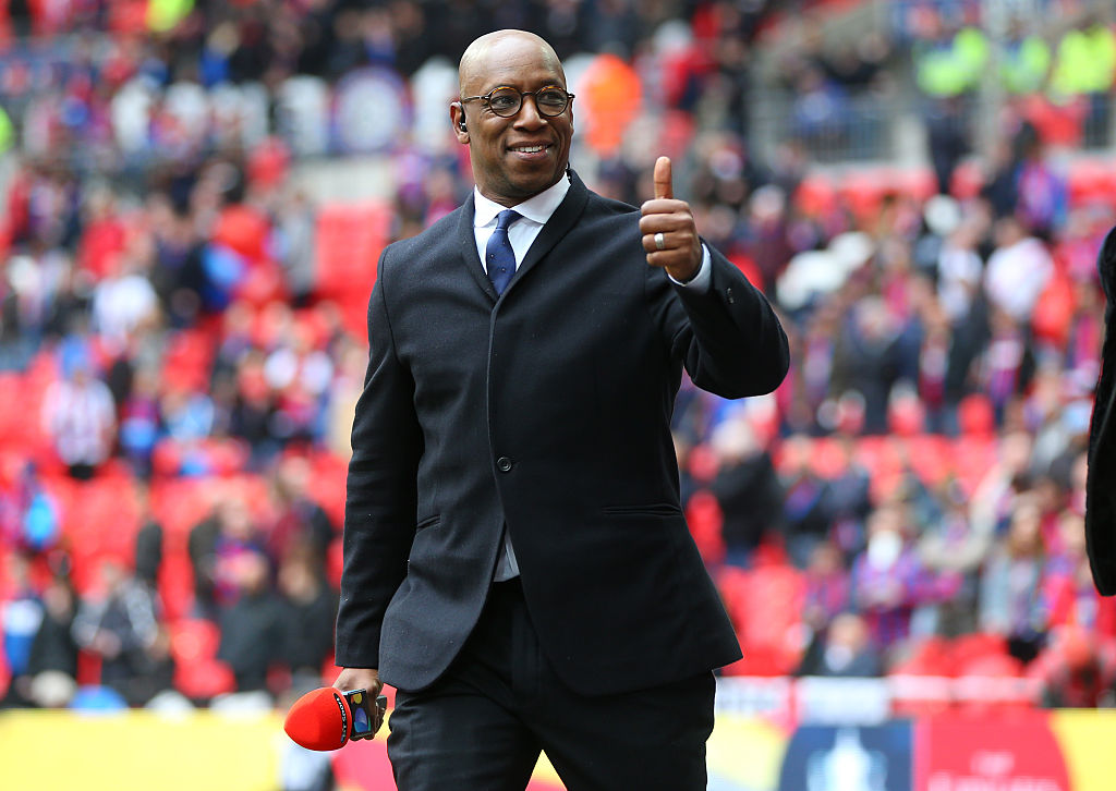 LONDON, ENGLAND - APRIL 24: A thumbs up from Ian Wright before The Emirates FA Cup semi final match between Watford and Crystal Palace at Wembley Stadium on April 24, 2016 in London, England. (Photo by Catherine Ivill - AMA/Getty Images)