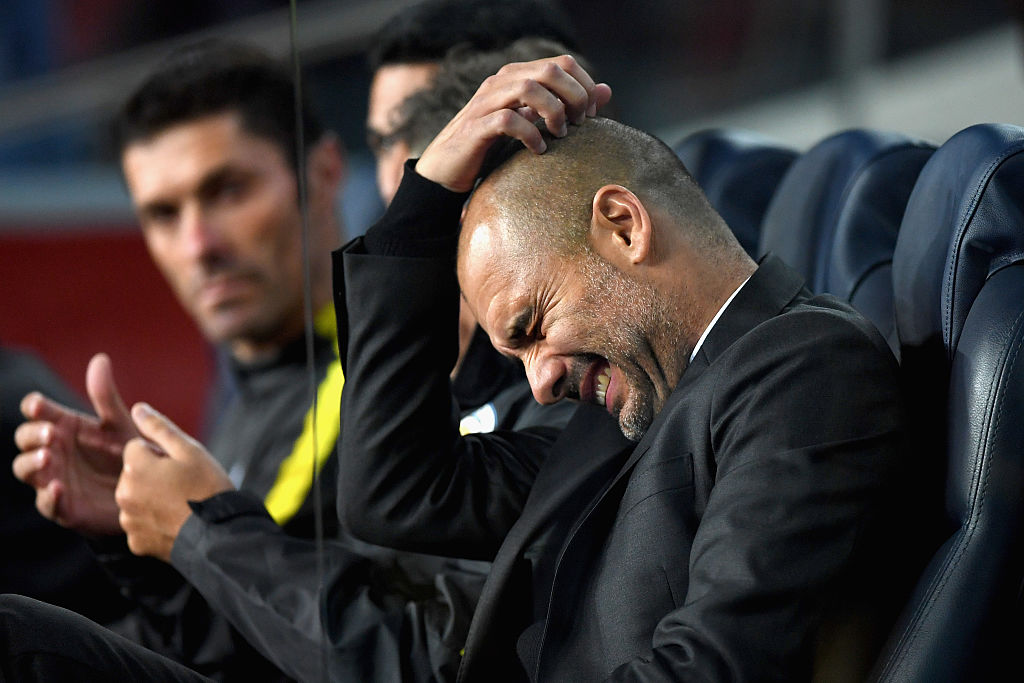 BARCELONA, SPAIN - OCTOBER 19: Josep Guardiola, Manager of Manchester City reacts during the UEFA Champions League group C match between FC Barcelona and Manchester City FC at Camp Nou on October 19, 2016 in Barcelona, Spain.  (Photo by Shaun Botterill/Getty Images)