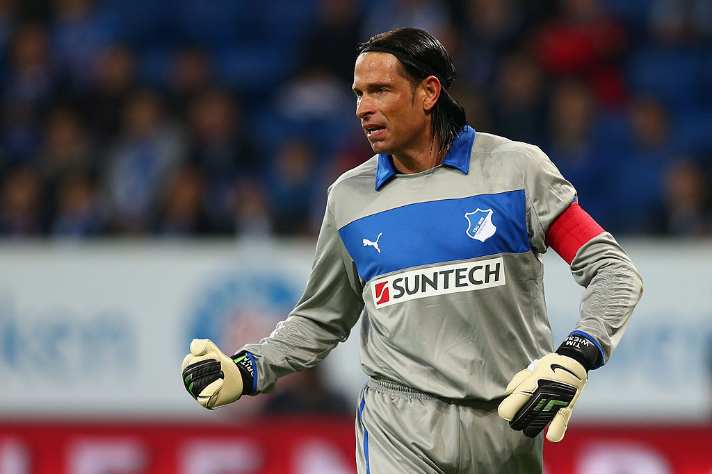 SINSHEIM, GERMANY - OCTOBER 19:  Goalkeeper Tim Wiese of Hoffenheim reacts during the Bundesliga match between 1899 Hoffenheim and SpVgg Greuther Fuerth at Rhein-Neckar-Arena on October 19, 2012 in Sinsheim, Germany.  (Photo by Alex Grimm/Bongarts/Getty Images)