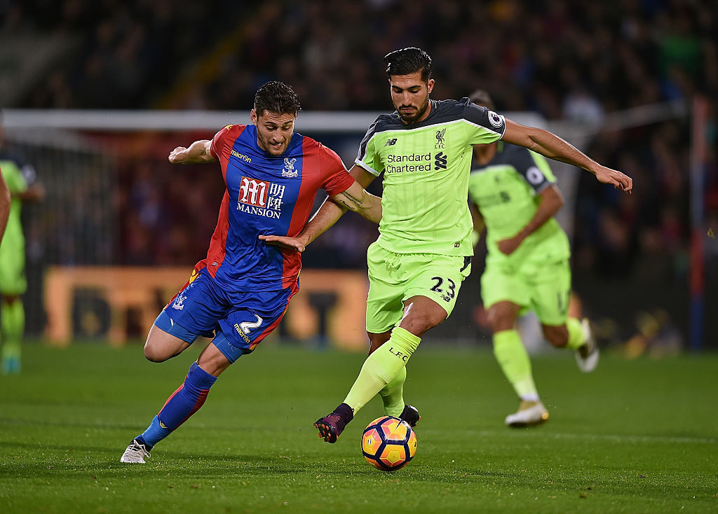 LONDON, ENGLAND - OCTOBER 29: (THE SUN OUT, THE SUN ON SUNDAY OUT) Emre Can of Liverpool competes with Joel Ward of Crystal Palace during the Premier League match between Crystal Palace and Liverpool at Selhurst Park on October 29, 2016 in London, England. (Photo by Andrew Powell/Liverpool FC via Getty Images)