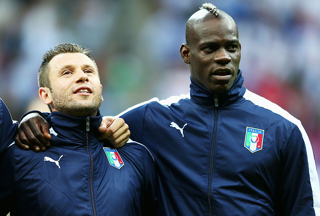 WARSAW, POLAND - JUNE 28: Antonio Cassano (L) and Mario Balotelli of Italy prior to the UEFA EURO 2012 semi final match between Germany and Italy at the National Stadium on June 28, 2012 in Warsaw, Poland.  (Photo by Michael Steele/Getty Images)
