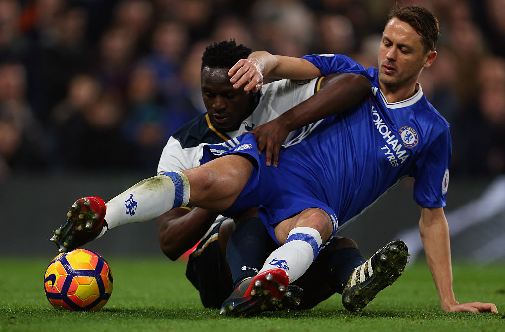 LONDON, ENGLAND - NOVEMBER 26: Nemanja Matic of Chelsea sits on Victor Wanyama of Tottenham Hotspur  during the Premier League match between Chelsea and Tottenham Hotspur at Stamford Bridge on November 26, 2016 in London, England. (Photo by Catherine Ivill - AMA/Getty Images)