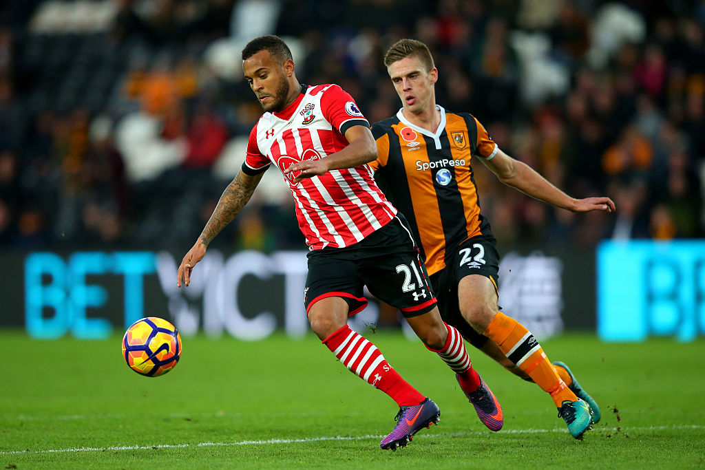 HULL, ENGLAND - NOVEMBER 06: Markus Henriksen of Hull City chases down Ryan Bertrand of Southampton during the Premier League match between Hull City and Southampton at KC Stadium on November 6, 2016 in Hull, England. (Photo by Alex Livesey/Getty Images)