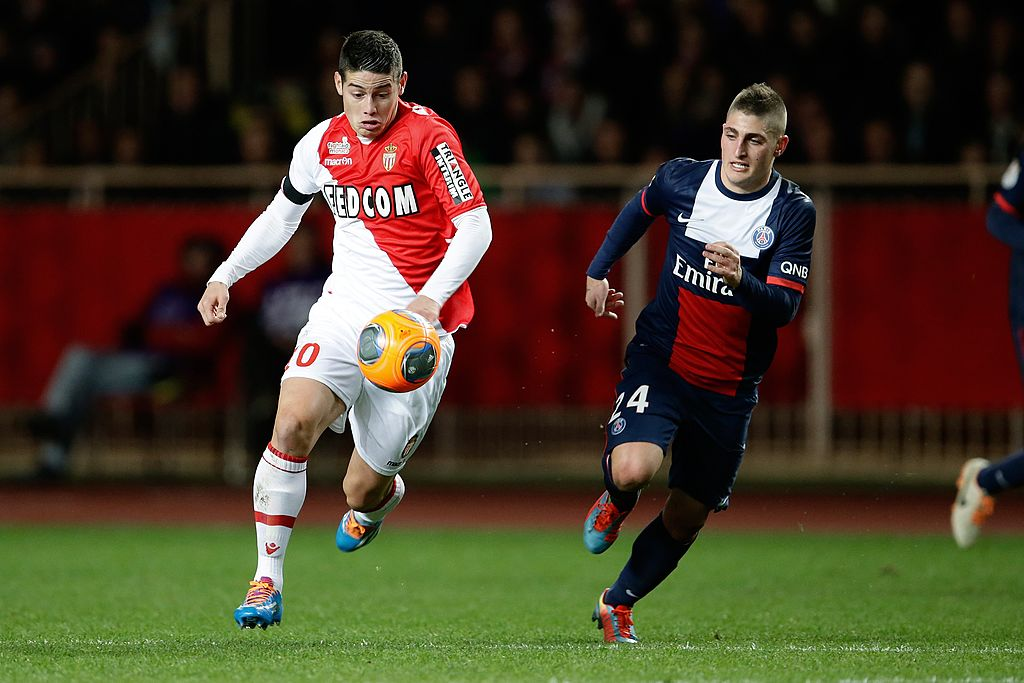 (L-R) James Rodriguez of AS Monaco, Marco Verratti of Paris Saint Germain during the France Ligue 1 match between AS Monaco and Paris Saint-Germain at Stade Louis II on february 9, 2014 in Monaco, France.(Photo by VI Images via Getty Images)