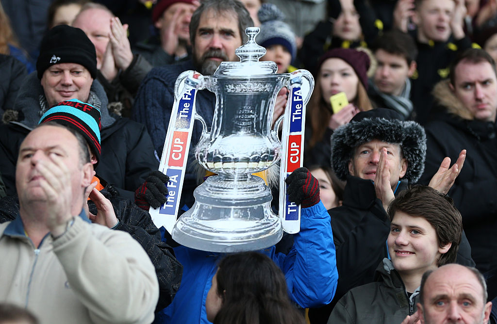 OXFORD, ENGLAND - JANUARY 10:  General view of a cardboard FA Cup trophy during The Emirates FA Cup match between Oxford United and Swansea City at Kassam Stadium on January 10, 2016 in Oxford, England.  (Photo by Catherine Ivill - AMA/Getty Images)