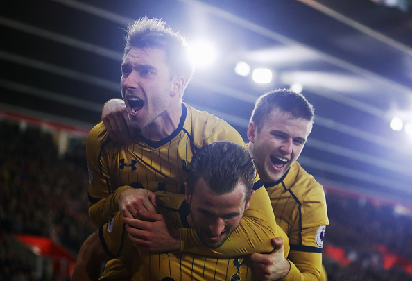 SOUTHAMPTON, ENGLAND - DECEMBER 28:  Harry Kane of Tottenham Hotspur (C) celebrates with Christian Eriksen (L) and Eric Dier (R) as he scores their second goal during the Premier League match between Southampton and Tottenham Hotspur at St Mary's Stadium on December 28, 2016 in Southampton, England.  (Photo by Julian Finney/Getty Images)
