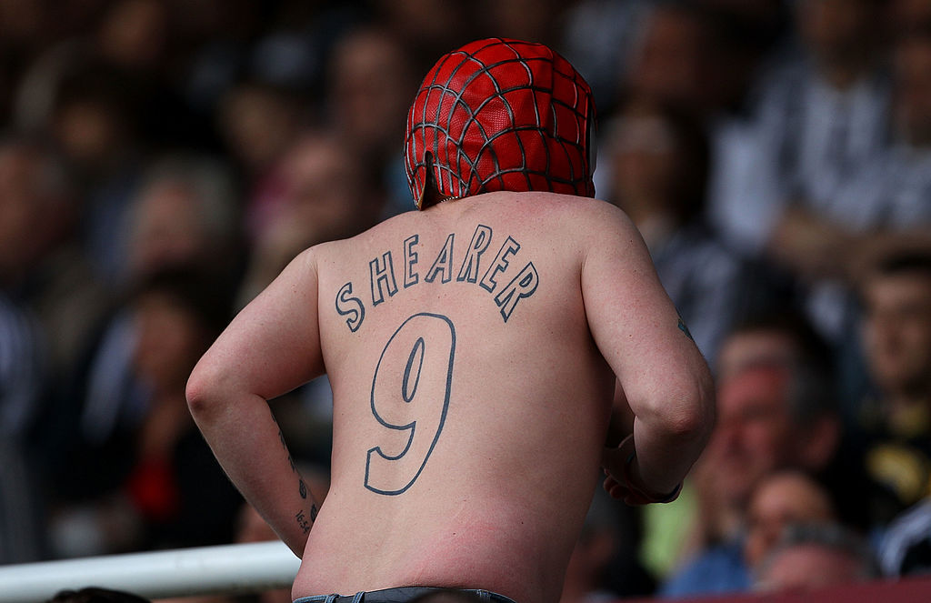 NEWCASTLE UPON TYNE, ENGLAND - APRIL 24: A Newcastle fan shows off his spiderman mask and Shearer tatoo during the Coca Cola Championship match between Newcastle United and Ipswich Town at St. James Park on April 24, 2010 in Newcastle upon Tyne, England. (Photo by Stu Forster/Getty Images)