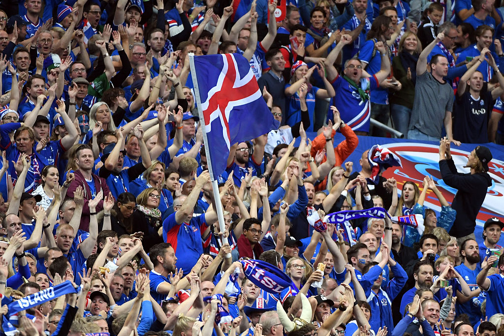 PARIS, FRANCE - JULY 03:  Iceland fans cheer during the UEFA EURO 2016 quarter final match between France and Iceland at Stade de France on July 3, 2016 in Paris, France.  (Photo by Stanley Chou/Getty Images)