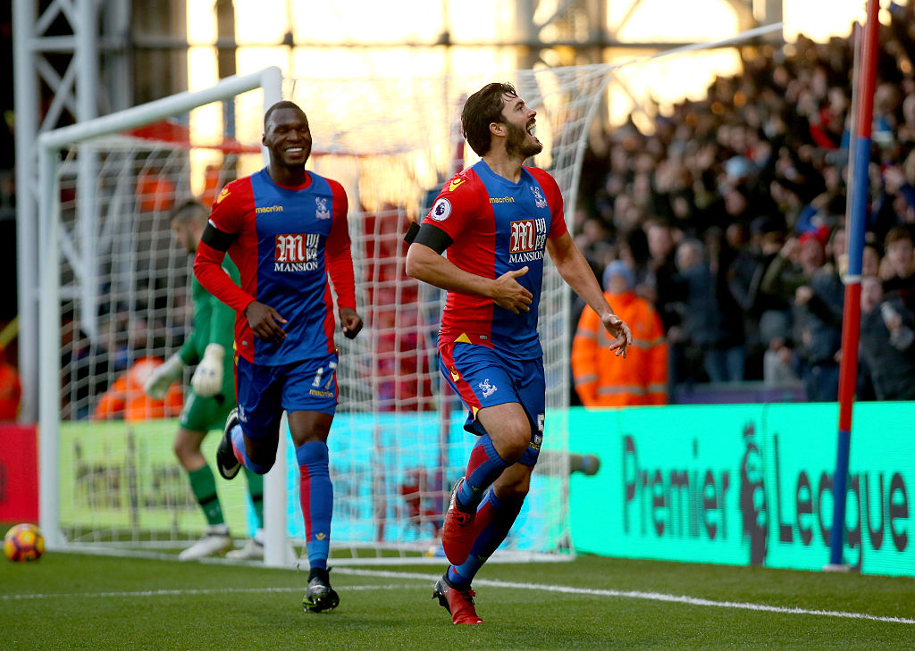 LONDON, ENGLAND - DECEMBER 03:  James Tomkins of Crystal Palace celebrates scoring his team's second goal during the Premier League match between Crystal Palace and Southampton at Selhurst Park on December 3, 2016 in London, England.  (Photo by Bryn Lennon/Getty Images)