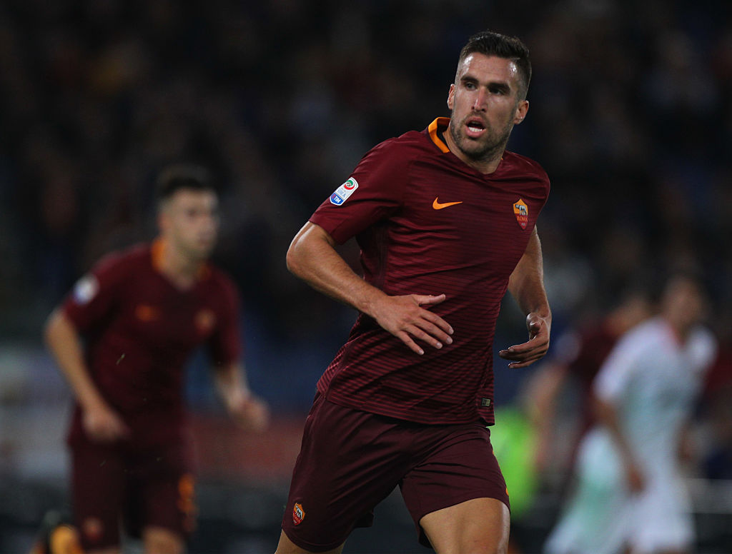 during the Serie A match between AS Roma and US Citta di Palermo at Stadio Olimpico on October 23, 2016 in Rome, Italy.