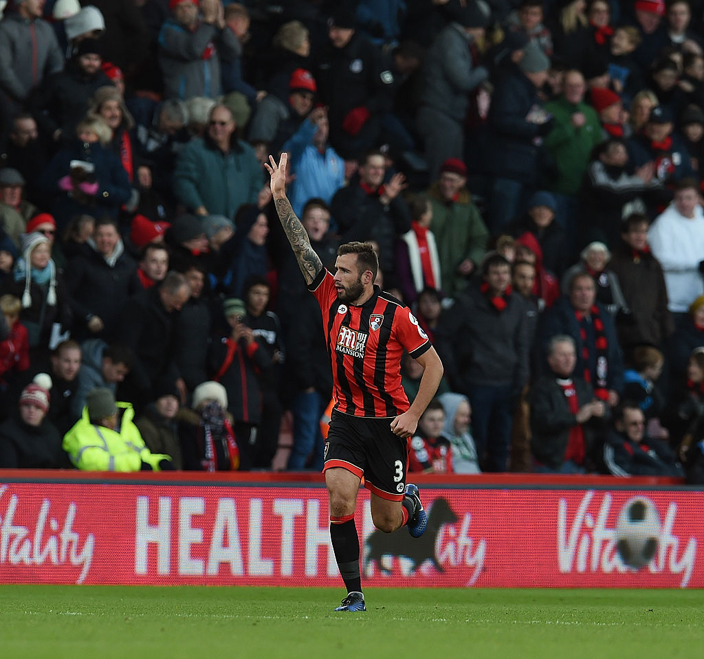 BOURNEMOUTH, ENGLAND - DECEMBER 04:  (THE SUN OUT, THE SUN ON SUNDAY OUT) Steve Cook of AFC Bournemouth celebrates after scoring during the Premier League match between AFC Bournemouth and Liverpool at the Vitality Stadium on December 4, 2016 in Bournemouth, England.  (Photo by John Powell/Liverpool FC via Getty Images)