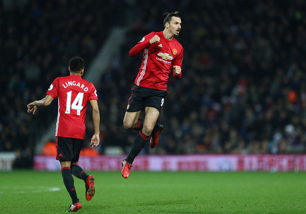 WEST BROMWICH, ENGLAND - DECEMBER 17: Zlatan Ibrahimovic of Manchester United celebrates scoring his sides second goal during the Premier League match between West Bromwich Albion and Manchester United at The Hawthorns on December 17, 2016 in West Bromwich, England.  (Photo by Michael Steele/Getty Images)