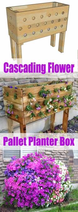 Fantastic Diy Cascading Flower Pallet Planter Box Easy Diy Backyard Projects Ideas 2017 Easy Diy Outdoor Lighting Ideas Easy Diy Outdoor Patio Ideas