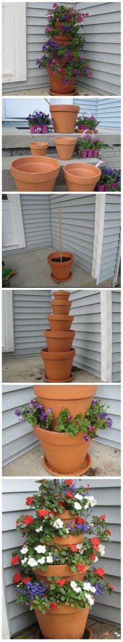 Jolly Diy Terra Cotta Pot Flower Tower Garden Outdoor Vertical Garden Ideas 2017 Diy Vertical Garden Diy Vertical Garden Wall