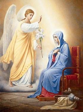 Изображение ангела Гавриила с лилией