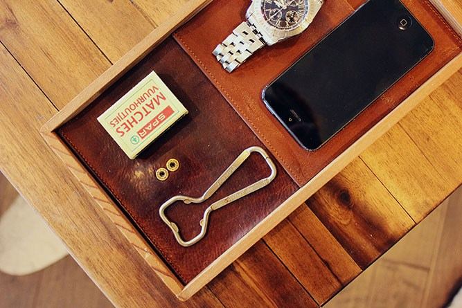 Make and Do Crew leather catchall tray