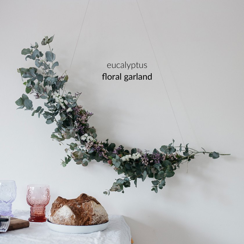 South by North floral eucalyptus garland