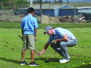 Photo/Yazmin Alvarez PGA Pro Golfer Brendan Steele was on hand teaching youngsters like 10-year-old Kaleb Duran, golf fundamentals Feb. 22 at the Colton Golf Club.