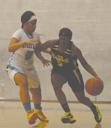 Photo/Richard Dawson  Tamera Trigg (#5) scored a game-high 30 points during Arroyo Valley's 78-28 San Andreas League win over San Gorgonio on January 16.