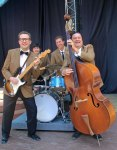 """courtesy photos/kristin station - redlands theatre festival<br /><br /><br /><br /><br /><br /><br /> """"The Buddy Holly Story"""" (above_ -Pictured here, left to right, are Adam Webster, Chris Dover, Dennis Galuszka and Steve Johnson."""