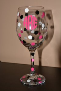 Monogram polka dot wine glass