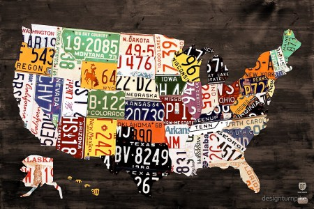 """""""license plate map of the united states of america warm"""