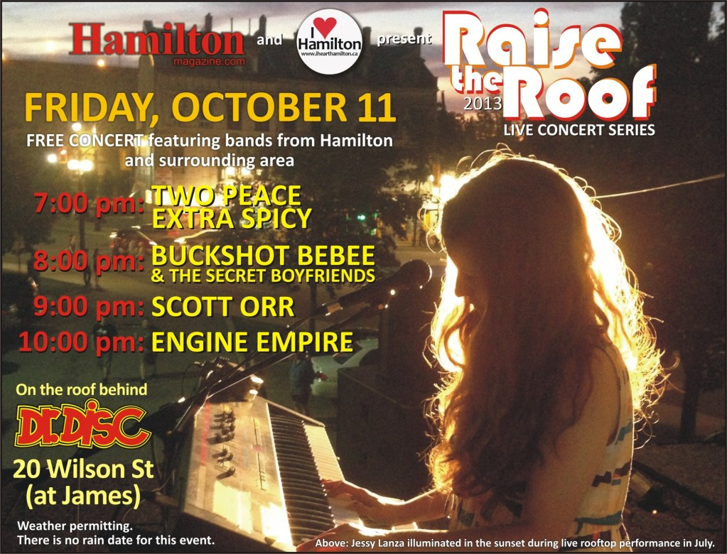 ANNOUNCEMENT: I HEART HAMILTON CO-PRESENTS RAISE THE ROOF @ DR. DISC