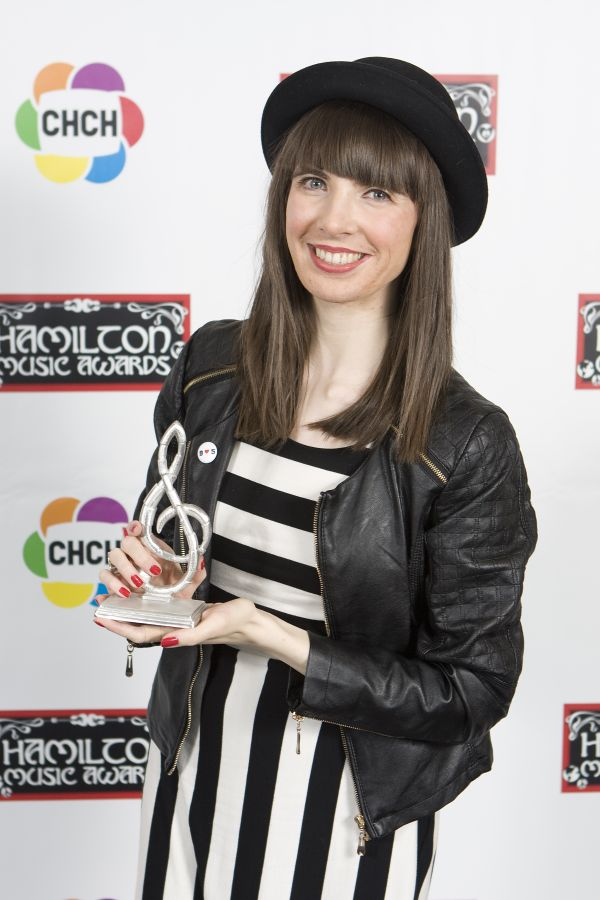 Kristin Archer after winning at Hamilton Music Awards 2015