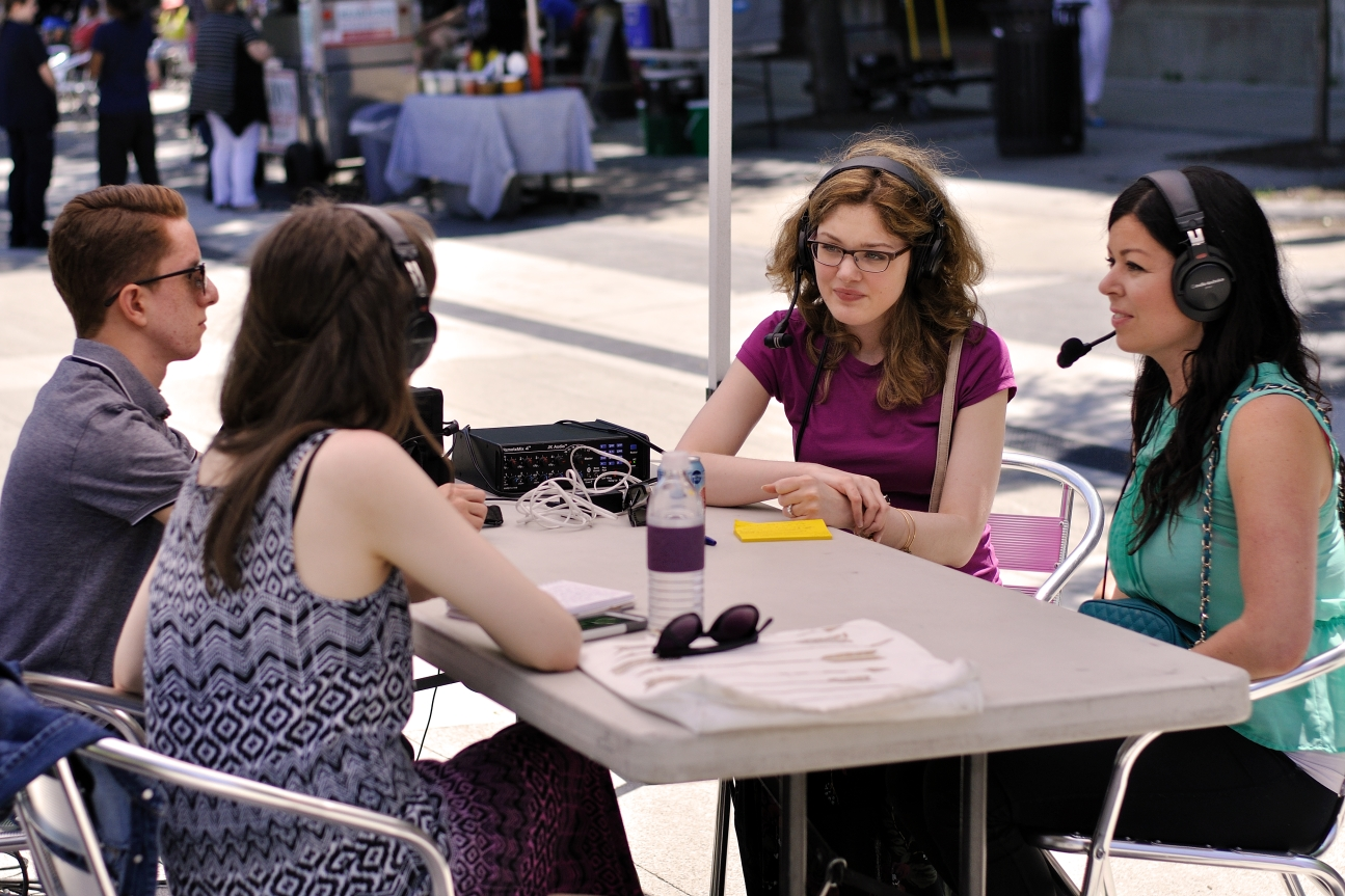 Interviewing Larissa Drobot of CoMotion Group and Alicia Thoms of SoulSessions. Photo by Lisa Vuyk